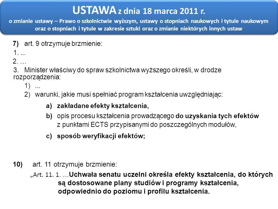 7)art. 9 otrzymuje brzmienie: 1.... 2. … 3. Minister właściwy do spraw szkolnictwa wyższego określi, w drodze rozporządzenia: 1)... 2) warunki, jakie