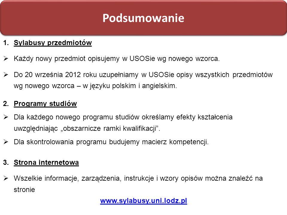 Projektowanie programów studiów: na bazie efektów kształcenia Podsumowanie 3.Strona internetowa Wszelkie informacje, zarządzenia, instrukcje i wzory o