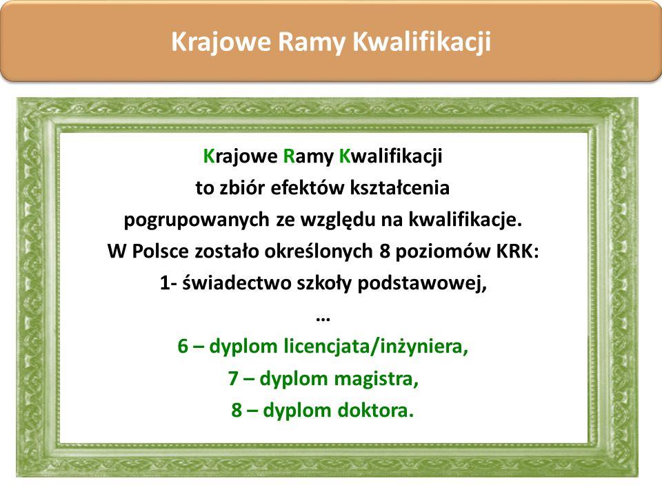 Krajowe Ramy Kwalifikacji to zbiór efektów kształcenia pogrupowanych ze względu na kwalifikacje. W Polsce zostało określonych 8 poziomów KRK: 1- świad