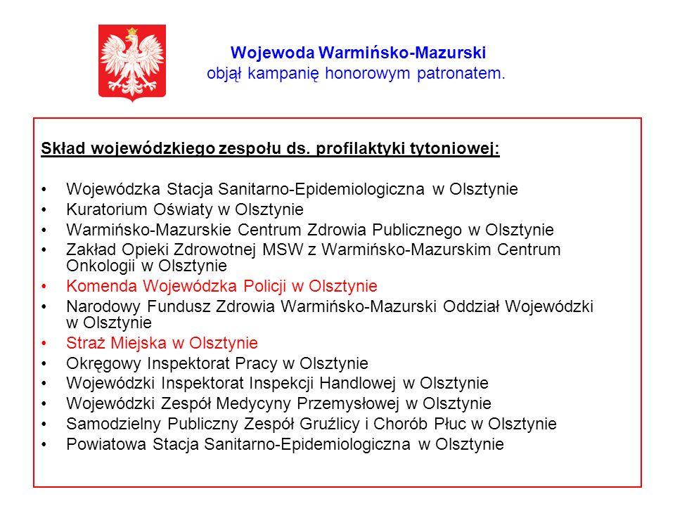 Wojewoda Warmińsko-Mazurski objął kampanię honorowym patronatem. Skład wojewódzkiego zespołu ds. profilaktyki tytoniowej: Wojewódzka Stacja Sanitarno-