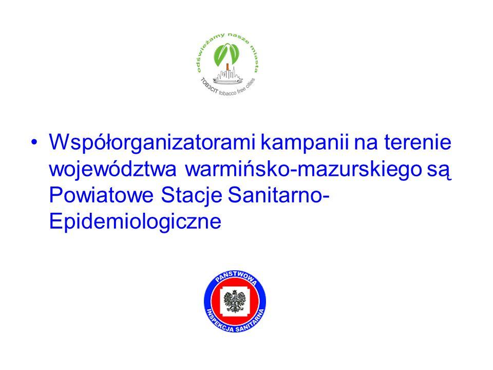Współorganizatorami kampanii na terenie województwa warmińsko-mazurskiego są Powiatowe Stacje Sanitarno- Epidemiologiczne