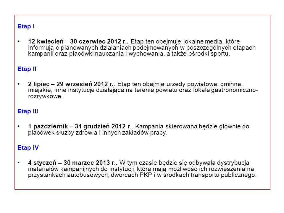 Etap I 12 kwiecień – 30 czerwiec 2012 r.. Etap ten obejmuje lokalne media, które informują o planowanych działaniach podejmowanych w poszczególnych et