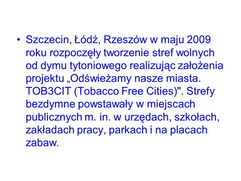 Szczecin, Łódź, Rzeszów w maju 2009 roku rozpoczęły tworzenie stref wolnych od dymu tytoniowego realizując założenia projektu Odświeżamy nasze miasta.