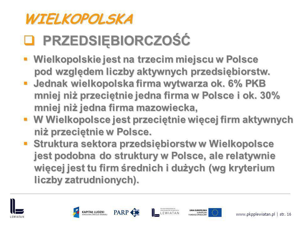 www.pkpplewiatan.pl | str. 16 Wielkopolskie jest na trzecim miejscu w Polsce Wielkopolskie jest na trzecim miejscu w Polsce pod względem liczby aktywn