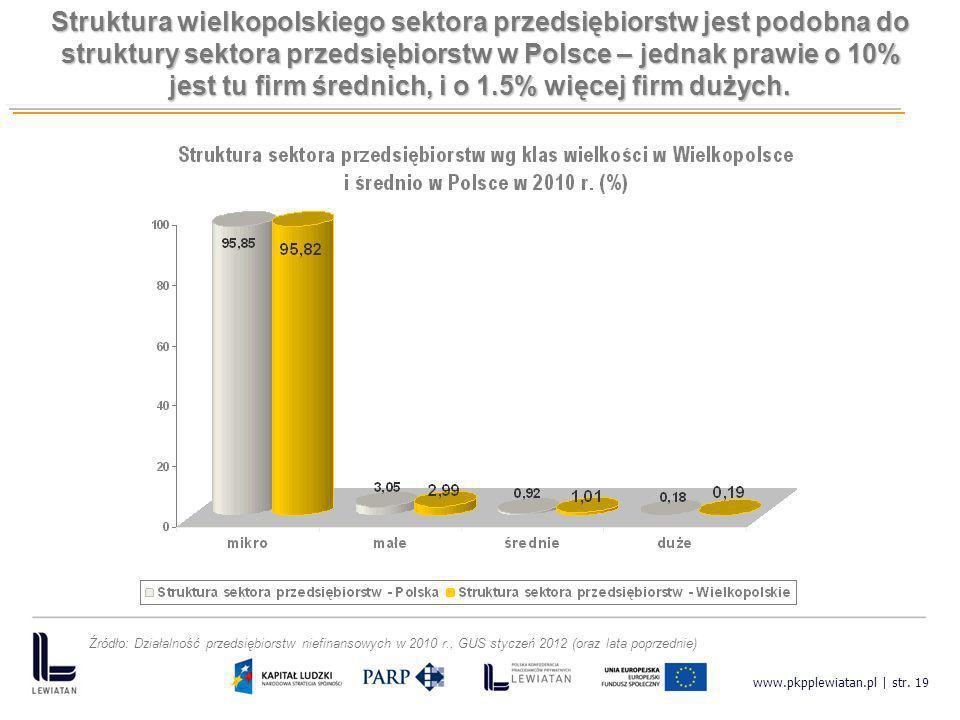 www.pkpplewiatan.pl | str. 19 Struktura wielkopolskiego sektora przedsiębiorstw jest podobna do struktury sektora przedsiębiorstw w Polsce – jednak pr