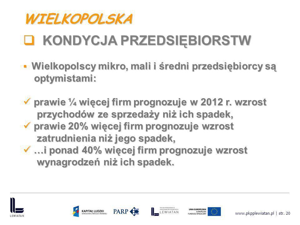 www.pkpplewiatan.pl | str. 20 Wielkopolscy mikro, mali i średni przedsiębiorcy są Wielkopolscy mikro, mali i średni przedsiębiorcy są optymistami: opt