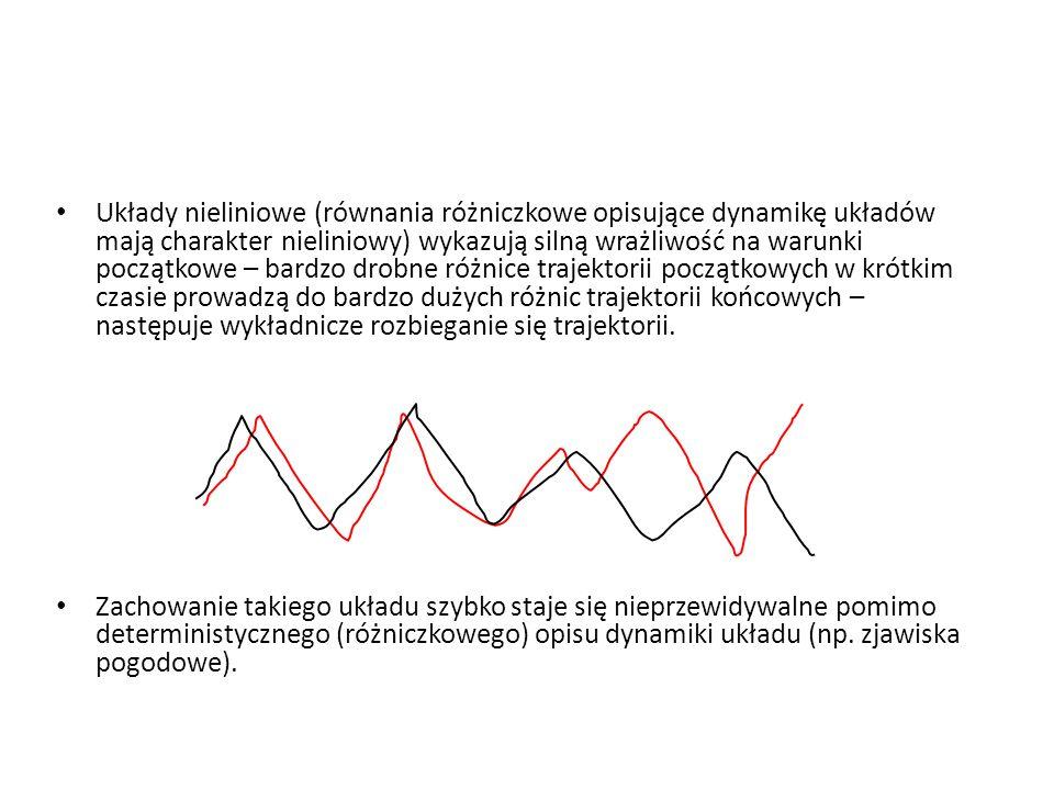 Układy nieliniowe (równania różniczkowe opisujące dynamikę układów mają charakter nieliniowy) wykazują silną wrażliwość na warunki początkowe – bardzo