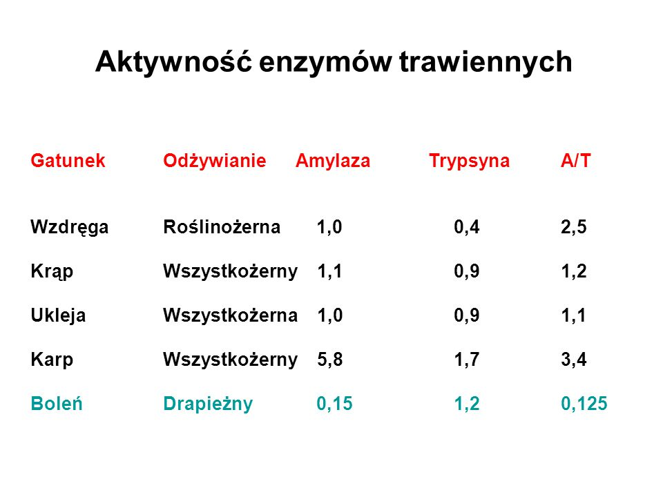Aktywność enzymów trawiennych GatunekOdżywianieAmylazaTrypsynaA/T WzdręgaRoślinożerna 1,0 0,42,5 KrąpWszystkożerny 1,1 0,91,2 UklejaWszystkożerna 1,0