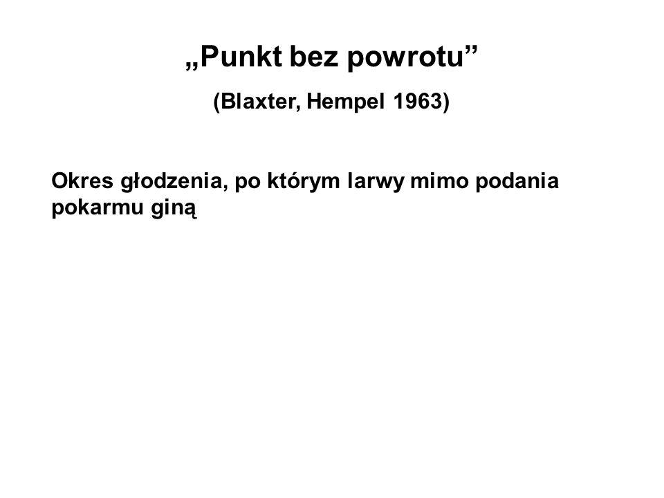 Punkt bez powrotu (Blaxter, Hempel 1963) Okres głodzenia, po którym larwy mimo podania pokarmu giną
