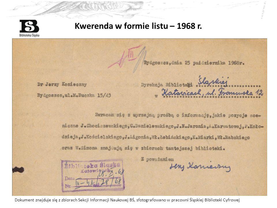 Kwerenda w formie listu – 1968 r. Dokument znajduje się z zbiorach Sekcji Informacji Naukowej BŚ, sfotografowano w pracowni Śląskiej Biblioteki Cyfrow