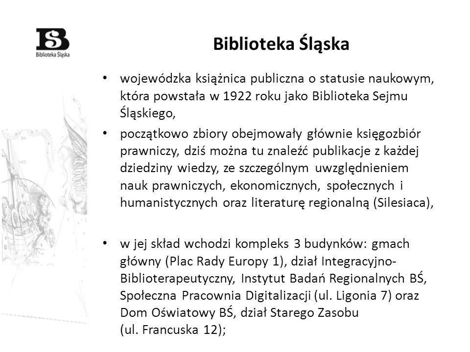 wojewódzka książnica publiczna o statusie naukowym, która powstała w 1922 roku jako Biblioteka Sejmu Śląskiego, początkowo zbiory obejmowały głównie k