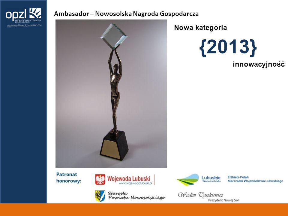 Ambasador – Nowosolska Nagroda Gospodarcza {2013} innowacyjność Nowa kategoria