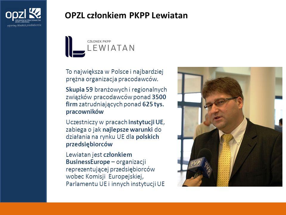 OPZL członkiem PKPP Lewiatan To największa w Polsce i najbardziej prężna organizacja pracodawców.
