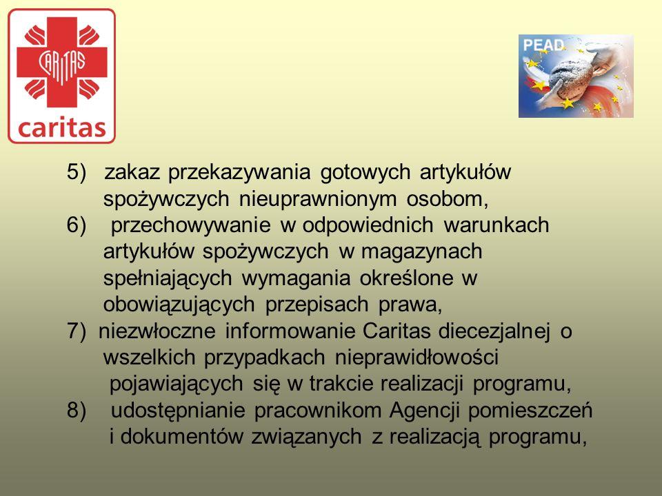 5) zakaz przekazywania gotowych artykułów spożywczych nieuprawnionym osobom, 6) przechowywanie w odpowiednich warunkach artykułów spożywczych w magazy