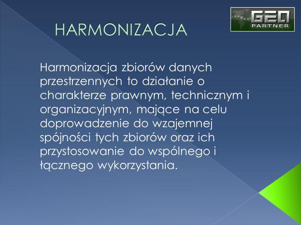 Harmonizacja zbiorów danych przestrzennych to działanie o charakterze prawnym, technicznym i organizacyjnym, mające na celu doprowadzenie do wzajemnej