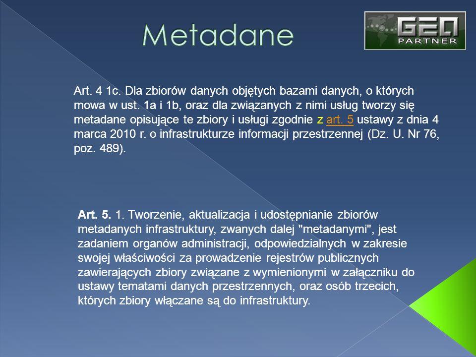 Art. 4 1c. Dla zbiorów danych objętych bazami danych, o których mowa w ust. 1a i 1b, oraz dla związanych z nimi usług tworzy się metadane opisujące te