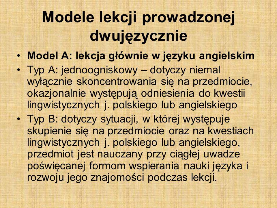 Model B: lekcje częściowo w j.