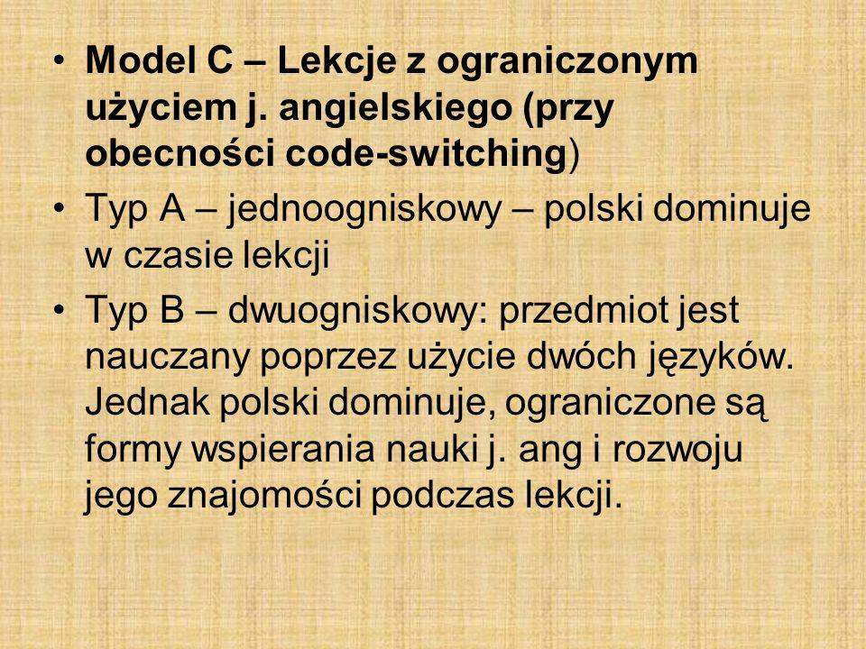 Model D – lekcje z użyciem j.