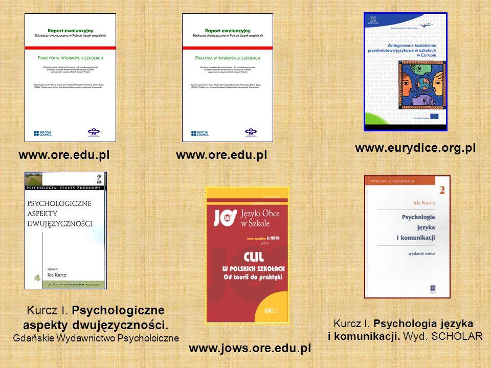 www.eurydice.org.pl Kurcz I. Psychologiczne aspekty dwujęzyczności. Gdańskie Wydawnictwo Psycholoiczne www.ore.edu.pl Kurcz I. Psychologia języka i ko