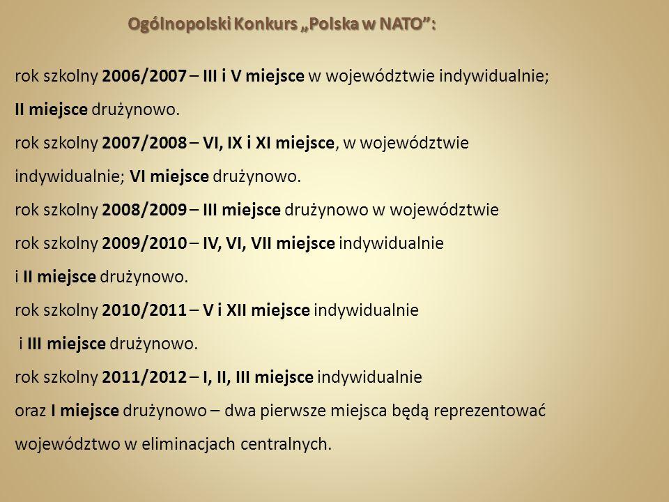 Ogólnopolski Konkurs Polska w NATO: Ogólnopolski Konkurs Polska w NATO: rok szkolny 2006/2007 – III i V miejsce w województwie indywidualnie; II miejs