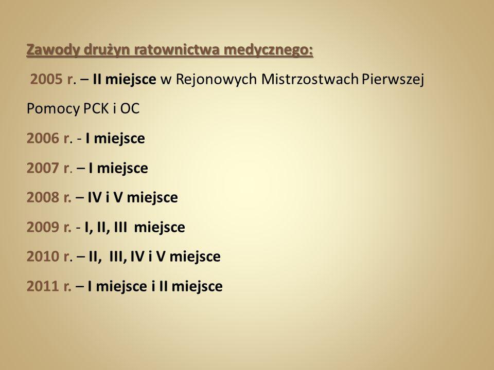 Zawody drużyn ratownictwa medycznego: 2005 r. – II miejsce w Rejonowych Mistrzostwach Pierwszej Pomocy PCK i OC 2006 r. - I miejsce 2007 r. – I miejsc