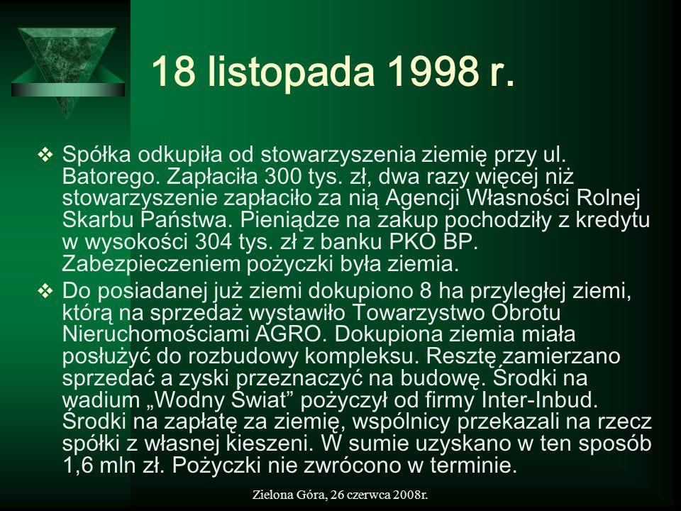 Zielona Góra, 26 czerwca 2008r. 18 listopada 1998 r. Spółka odkupiła od stowarzyszenia ziemię przy ul. Batorego. Zapłaciła 300 tys. zł, dwa razy więce