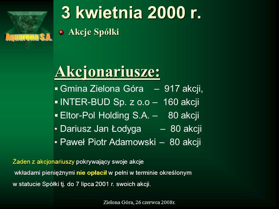 Zielona Góra, 26 czerwca 2008r. 3 kwietnia 2000 r. Akcje Spółki Akcjonariusze: Gmina Zielona Góra – 917 akcji, INTER-BUD Sp. z o.o – 160 akcji Eltor-P