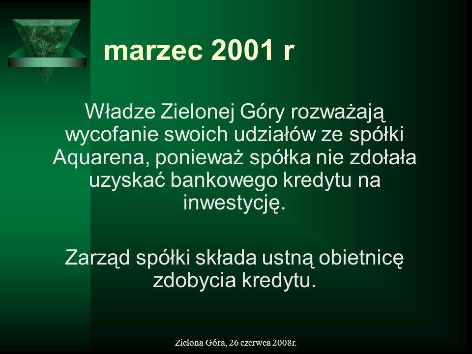 Zielona Góra, 26 czerwca 2008r. marzec 2001 r Władze Zielonej Góry rozważają wycofanie swoich udziałów ze spółki Aquarena, ponieważ spółka nie zdołała