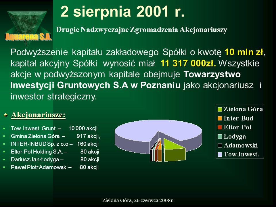Zielona Góra, 26 czerwca 2008r. 2 sierpnia 2001 r.Akcjonariusze: Tow. Inwest. Grunt. – 10 000 akcji Gmina Zielona Góra – 917 akcji, INTER-INBUD Sp. z