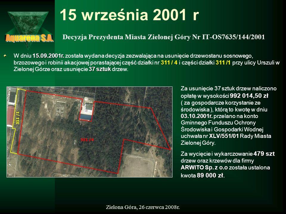 Zielona Góra, 26 czerwca 2008r. 15 września 2001 r Decyzja Prezydenta Miasta Zielonej Góry Nr IT-OS7635/144/2001 15.09.2001r. 311 / 4311 /1 37 sztuk W
