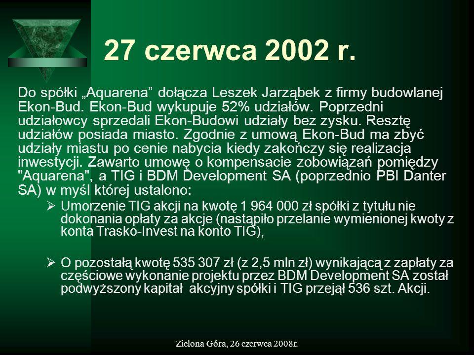 Zielona Góra, 26 czerwca 2008r. 27 czerwca 2002 r. Do spółki Aquarena dołącza Leszek Jarząbek z firmy budowlanej Ekon-Bud. Ekon-Bud wykupuje 52% udzia