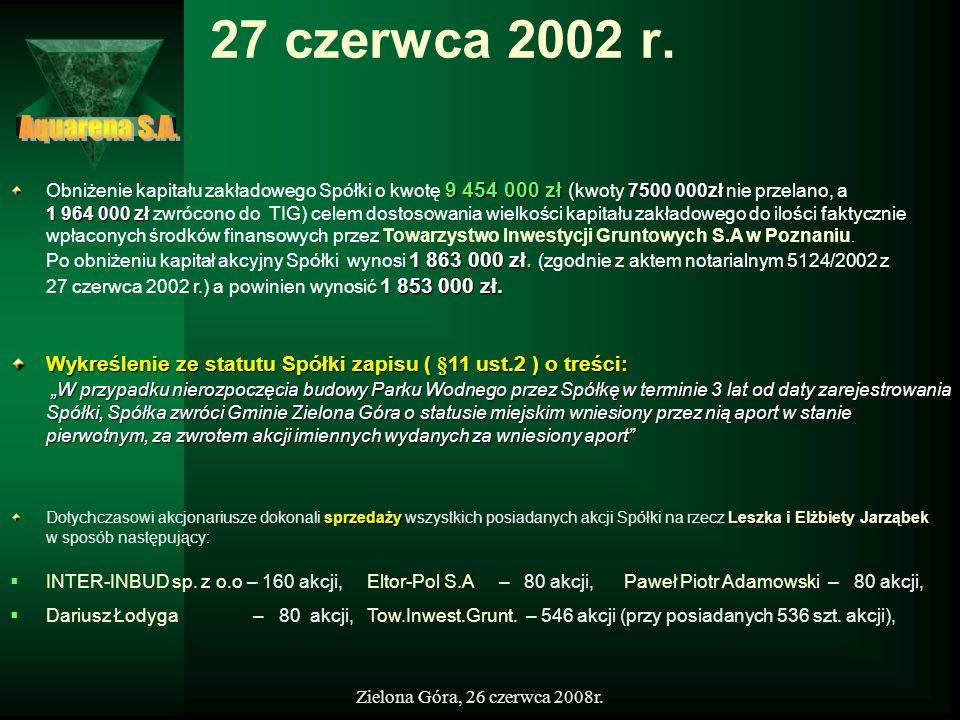 Zielona Góra, 26 czerwca 2008r. 27 czerwca 2002 r. sprzedażyLeszka i Elżbiety Jarząbek Dotychczasowi akcjonariusze dokonali sprzedaży wszystkich posia