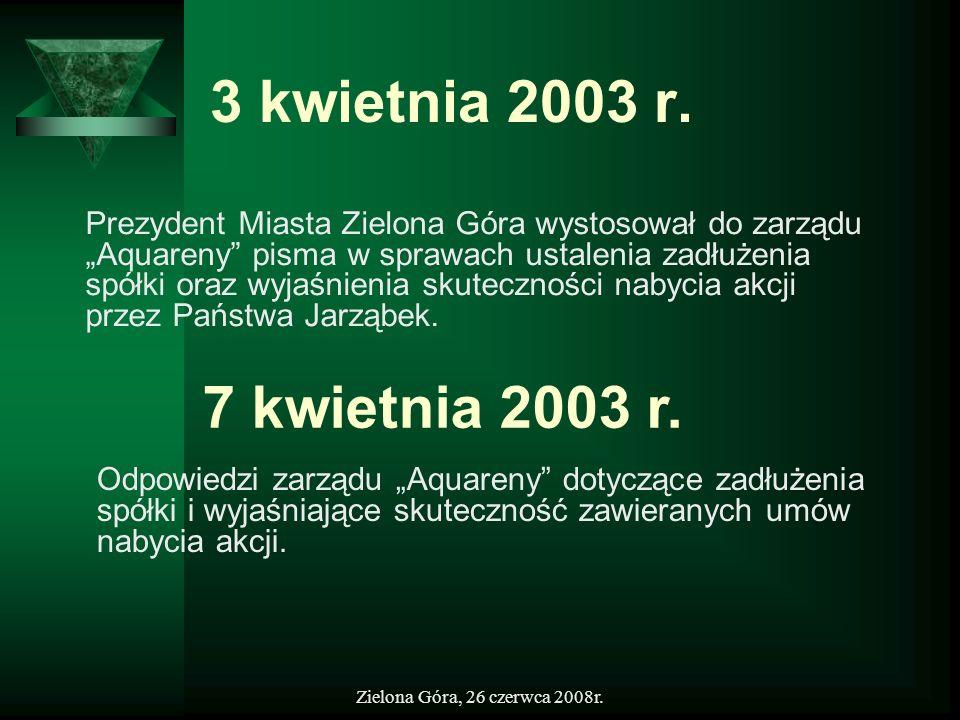 Zielona Góra, 26 czerwca 2008r. 3 kwietnia 2003 r. Prezydent Miasta Zielona Góra wystosował do zarządu Aquareny pisma w sprawach ustalenia zadłużenia