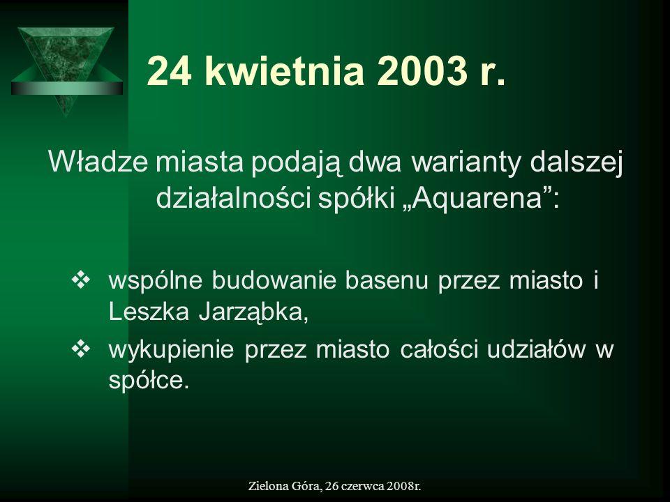 Zielona Góra, 26 czerwca 2008r. 24 kwietnia 2003 r. Władze miasta podają dwa warianty dalszej działalności spółki Aquarena: wspólne budowanie basenu p