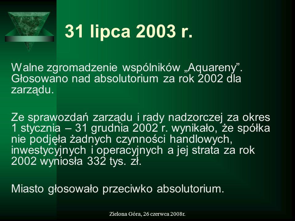 Zielona Góra, 26 czerwca 2008r. 31 lipca 2003 r. Walne zgromadzenie wspólników Aquareny. Głosowano nad absolutorium za rok 2002 dla zarządu. Ze sprawo