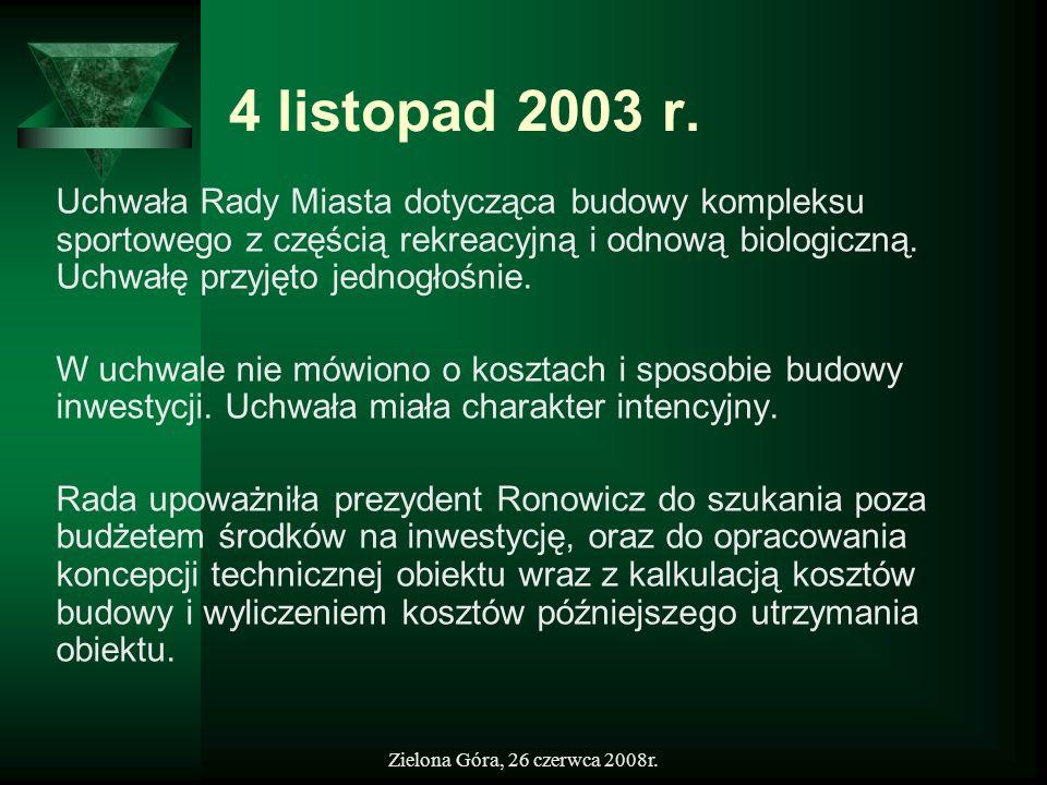 Zielona Góra, 26 czerwca 2008r. 4 listopad 2003 r. Uchwała Rady Miasta dotycząca budowy kompleksu sportowego z częścią rekreacyjną i odnową biologiczn