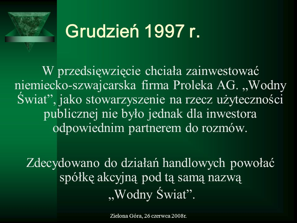 Zielona Góra, 26 czerwca 2008r. Grudzień 1997 r. W przedsięwzięcie chciała zainwestować niemiecko-szwajcarska firma Proleka AG. Wodny Świat, jako stow