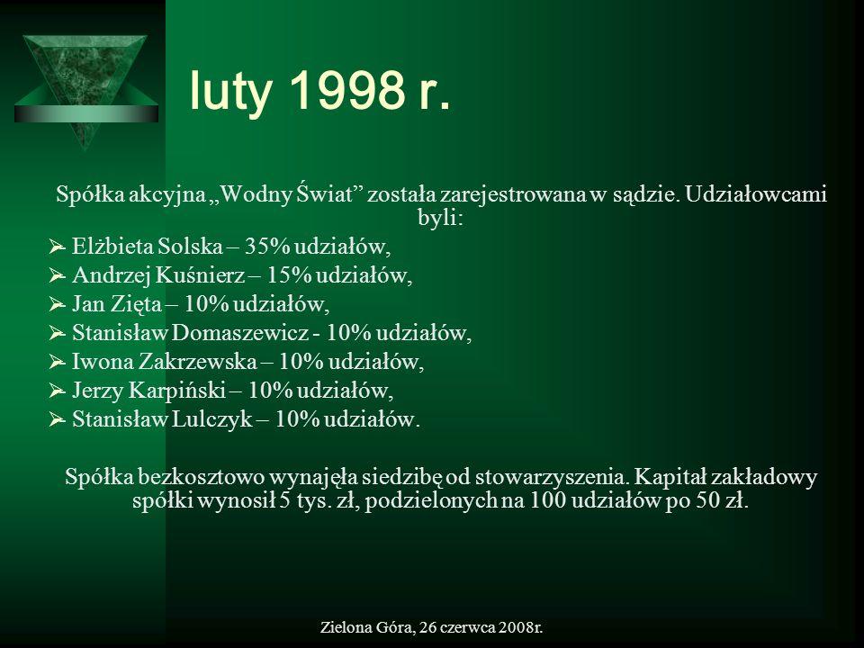 Zielona Góra, 26 czerwca 2008r. luty 1998 r. Spółka akcyjna Wodny Świat została zarejestrowana w sądzie. Udziałowcami byli: - Elżbieta Solska – 35% ud