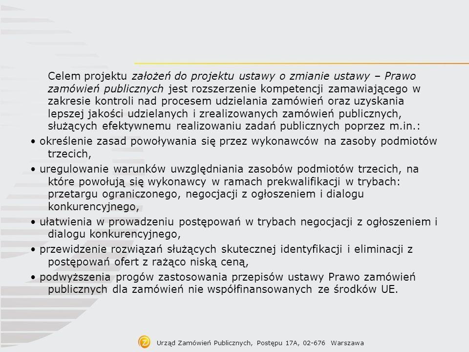Treść projektu założeń Podwyższenie progów zastosowania przepisów ustawy Prawo zamówień publicznych dla zamówień nie współfinansowanych ze środków UE.