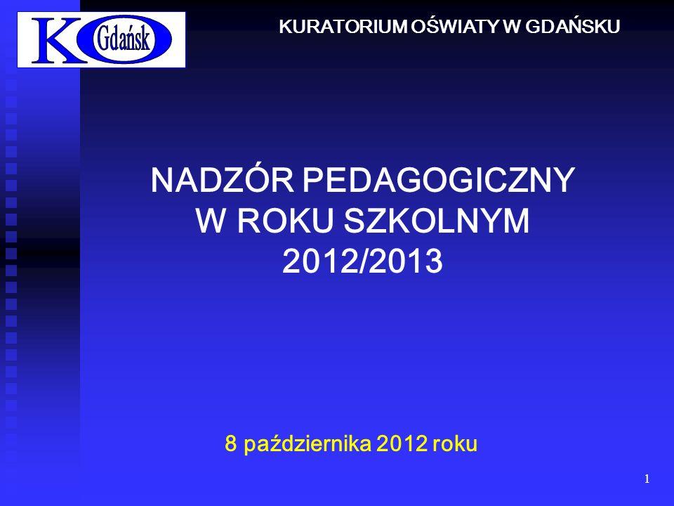 1 NADZÓR PEDAGOGICZNY W ROKU SZKOLNYM 2012/2013 8 października 2012 roku KURATORIUM OŚWIATY W GDAŃSKU