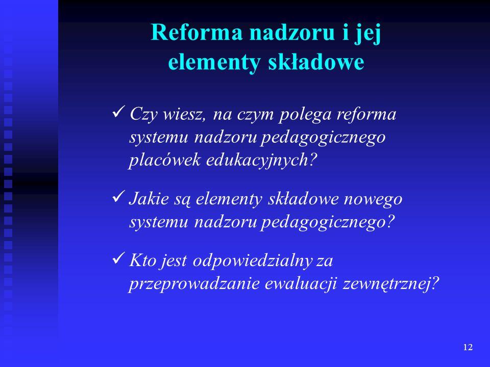 12 Reforma nadzoru i jej elementy składowe Czy wiesz, na czym polega reforma systemu nadzoru pedagogicznego placówek edukacyjnych? Jakie są elementy s