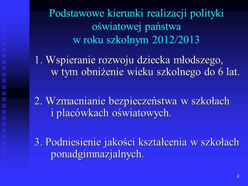 2 Podstawowe kierunki realizacji polityki oświatowej państwa w roku szkolnym 2012/2013 1. Wspieranie rozwoju dziecka młodszego, w tym obniżenie wieku