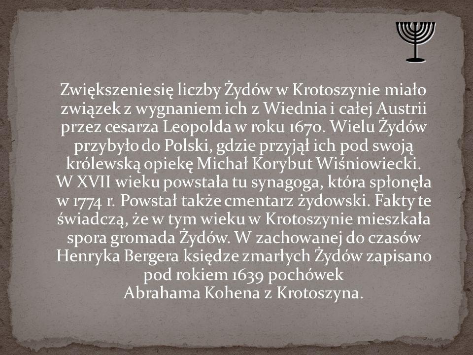 W końcu XVII wieku zamieszkiwało nasze miasto prawdopodobnie 1200-1300 Żydów, w latach 1725-1730 było ich 1600-1700.