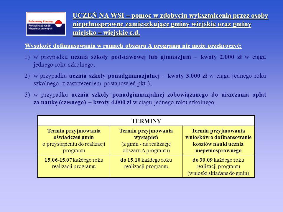 Wysokość dofinansowania w ramach obszaru A programu nie może przekroczyć: 1) w przypadku ucznia szkoły podstawowej lub gimnazjum – kwoty 2.000 zł w ci
