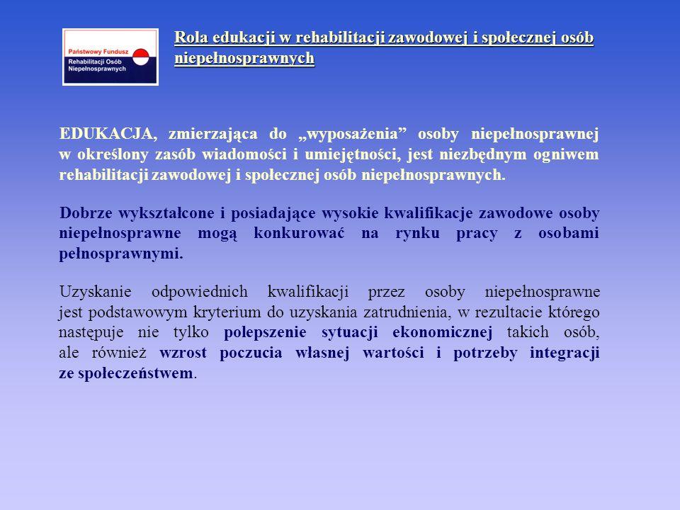 Rola edukacji w rehabilitacji zawodowej i społecznej osób niepełnosprawnych c.d.