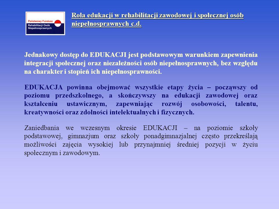 Rola edukacji w rehabilitacji zawodowej i społecznej osób niepełnosprawnych c.d. Jednakowy dostęp do EDUKACJI jest podstawowym warunkiem zapewnienia i