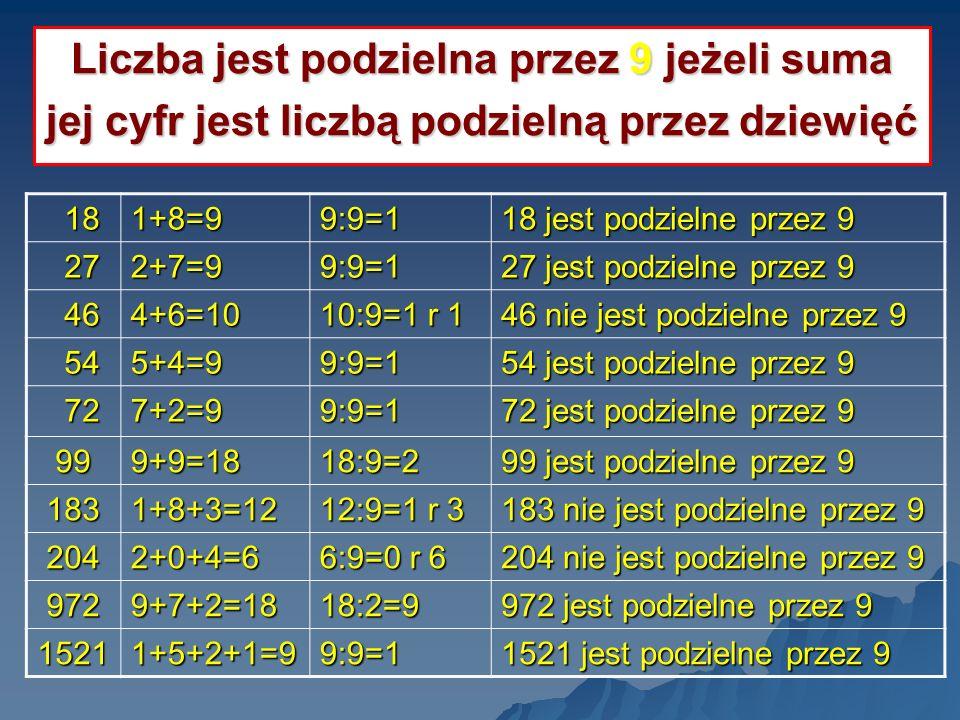 Liczba jest podzielna przez 9 jeżeli suma jej cyfr jest liczbą podzielną przez dziewięć 18 181+8=99:9=1 18 jest podzielne przez 9 27 272+7=99:9=1 27 j