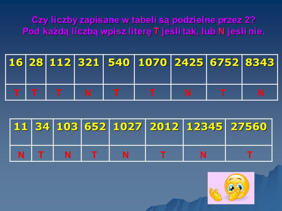 Czy liczby zapisane w tabeli są podzielne przez 2? Pod każdą liczbą wpisz literę T jeśli tak, lub N jeśli nie Pod każdą liczbą wpisz literę T jeśli ta