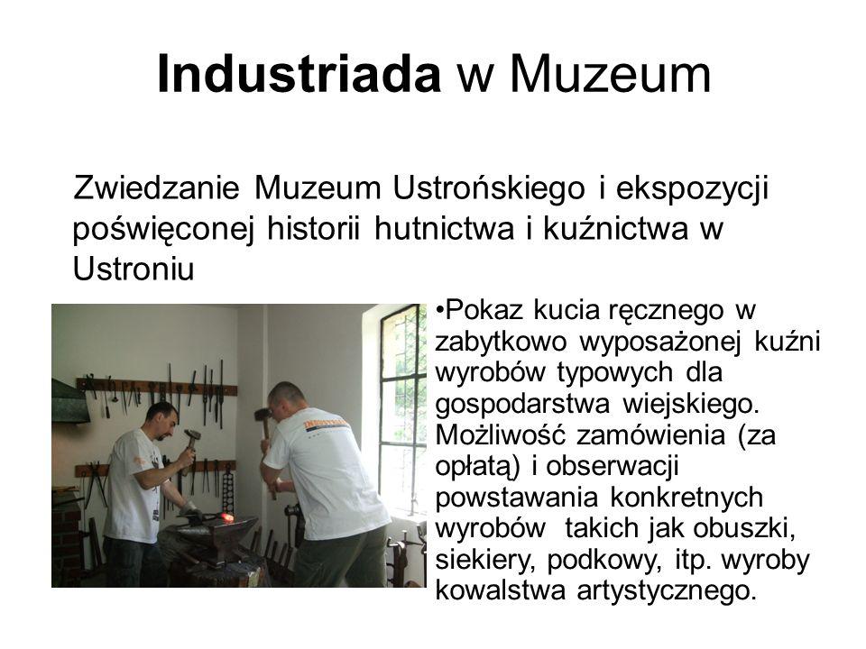 Industriada w Muzeum Zwiedzanie Muzeum Ustrońskiego i ekspozycji poświęconej historii hutnictwa i kuźnictwa w Ustroniu Pokaz kucia ręcznego w zabytkowo wyposażonej kuźni wyrobów typowych dla gospodarstwa wiejskiego.