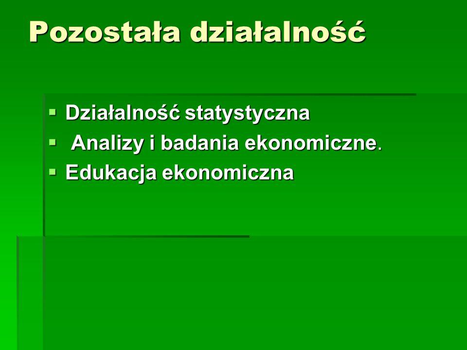 Pozostała działalność Działalność statystyczna Działalność statystyczna Analizy i badania ekonomiczne. Analizy i badania ekonomiczne. Edukacja ekonomi